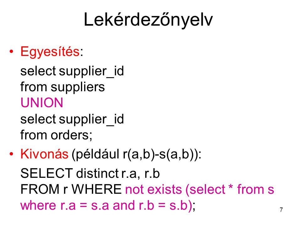 8 Lekérdezőnyelv A származtatott műveletek, és minden relációs algebrai kifejezés felírható SQL-ben.