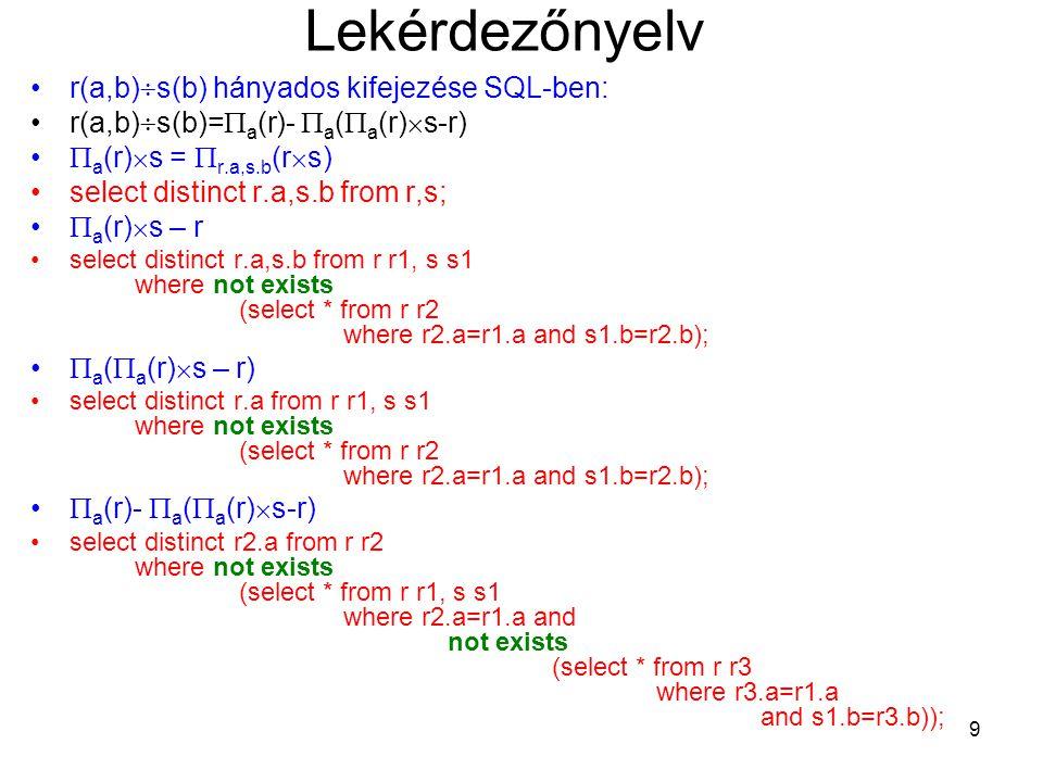 9 Lekérdezőnyelv r(a,b)  s(b) hányados kifejezése SQL-ben: r(a,b)  s(b)=  a (r)-  a (  a (r)  s-r)  a (r)  s =  r.a,s.b (r  s) select distinct r.a,s.b from r,s;  a (r)  s – r select distinct r.a,s.b from r r1, s s1 where not exists (select * from r r2 where r2.a=r1.a and s1.b=r2.b);  a (  a (r)  s – r) select distinct r.a from r r1, s s1 where not exists (select * from r r2 where r2.a=r1.a and s1.b=r2.b);  a (r)-  a (  a (r)  s-r) select distinct r2.a from r r2 where not exists (select * from r r1, s s1 where r2.a=r1.a and not exists (select * from r r3 where r3.a=r1.a and s1.b=r3.b));