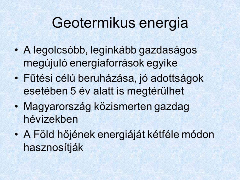 Geotermikus energia A legolcsóbb, leginkább gazdaságos megújuló energiaforrások egyike Fűtési célú beruházása, jó adottságok esetében 5 év alatt is me