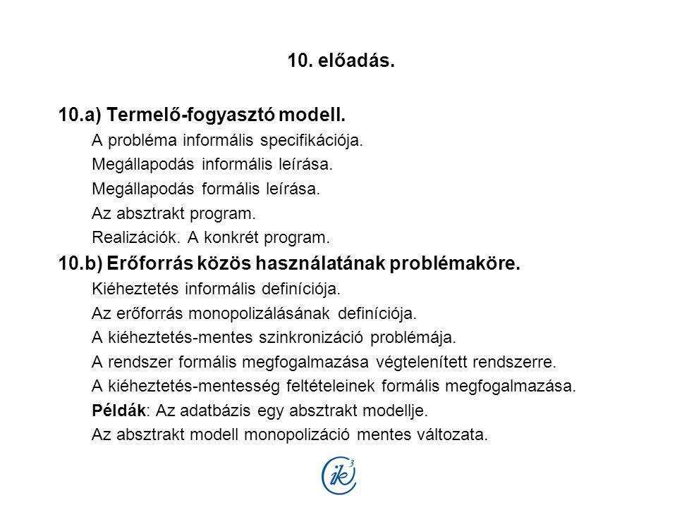 10. előadás. 10.a) Termelő-fogyasztó modell. A probléma informális specifikációja. Megállapodás informális leírása. Megállapodás formális leírása. Az