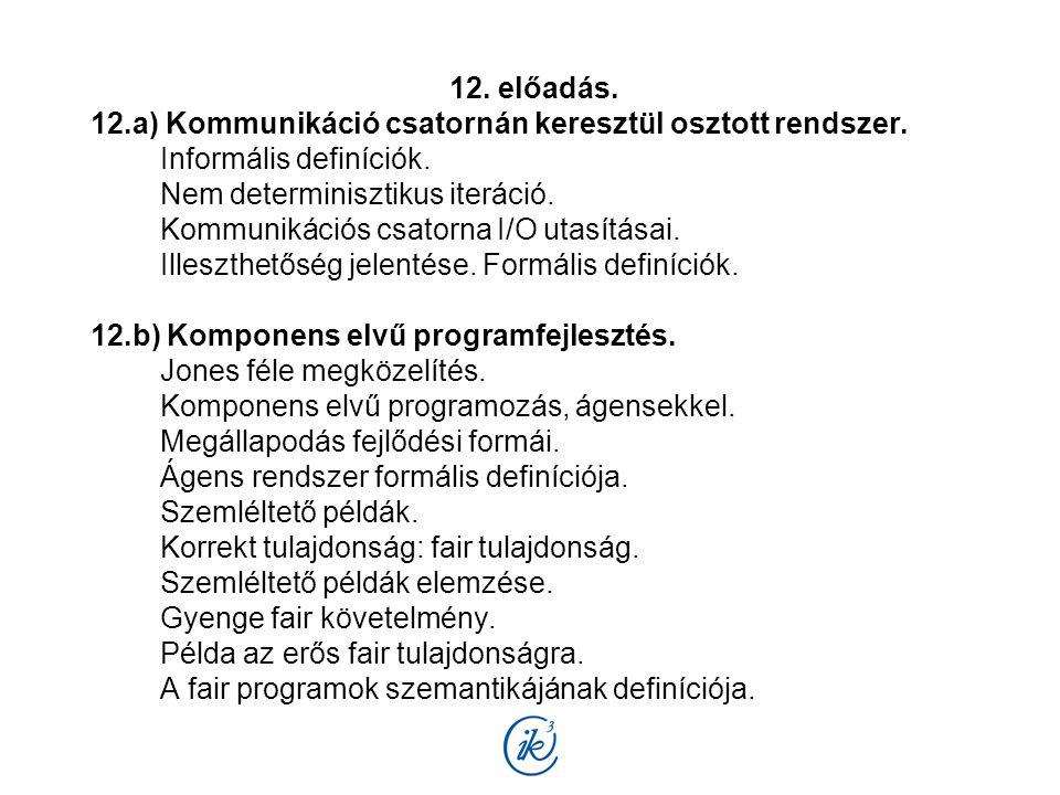 12. előadás. 12.a) Kommunikáció csatornán keresztül osztott rendszer. Informális definíciók. Nem determinisztikus iteráció. Kommunikációs csatorna I/O