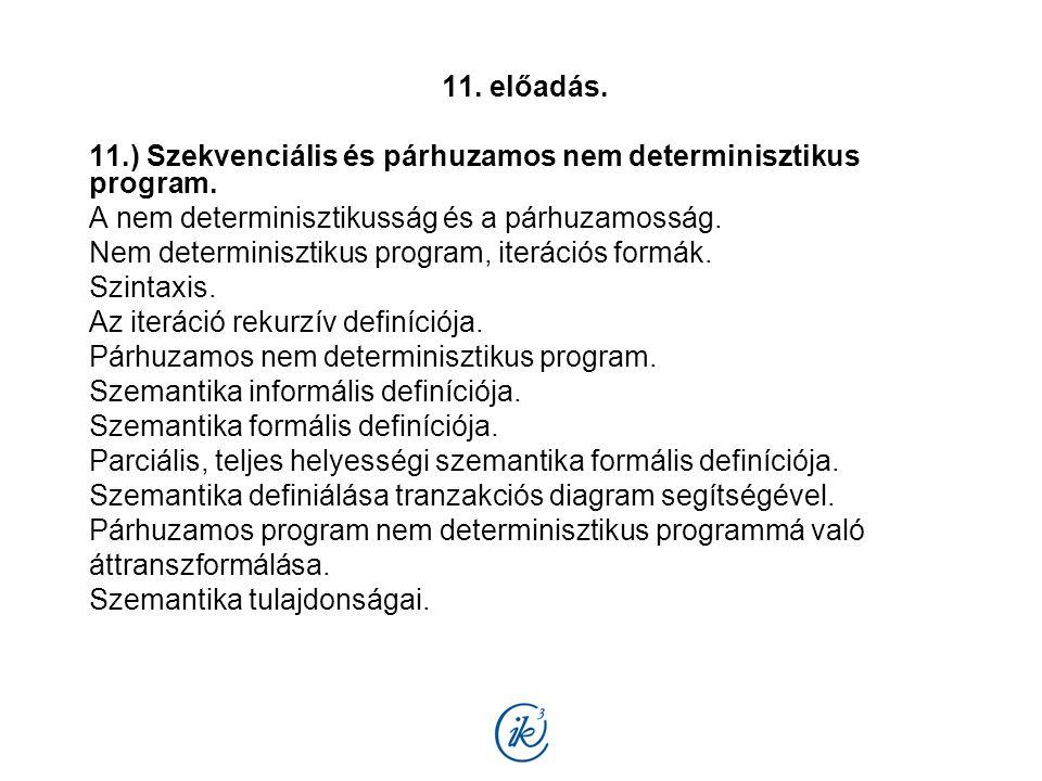 11. előadás. 11.) Szekvenciális és párhuzamos nem determinisztikus program. A nem determinisztikusság és a párhuzamosság. Nem determinisztikus program