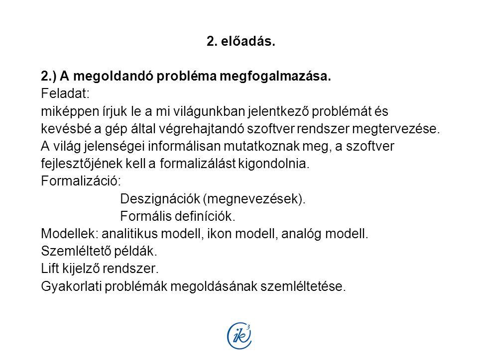 2. előadás. 2.) A megoldandó probléma megfogalmazása. Feladat: miképpen írjuk le a mi világunkban jelentkező problémát és kevésbé a gép által végrehaj