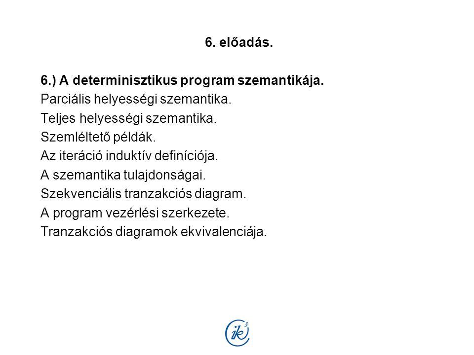 6. előadás. 6.) A determinisztikus program szemantikája. Parciális helyességi szemantika. Teljes helyességi szemantika. Szemléltető példák. Az iteráci