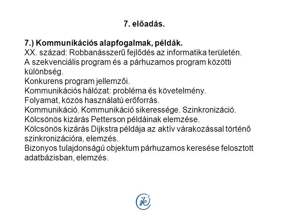 7. előadás. 7.) Kommunikációs alapfogalmak, példák. XX. század: Robbanásszerű fejlődés az informatika területén. A szekvenciális program és a párhuzam