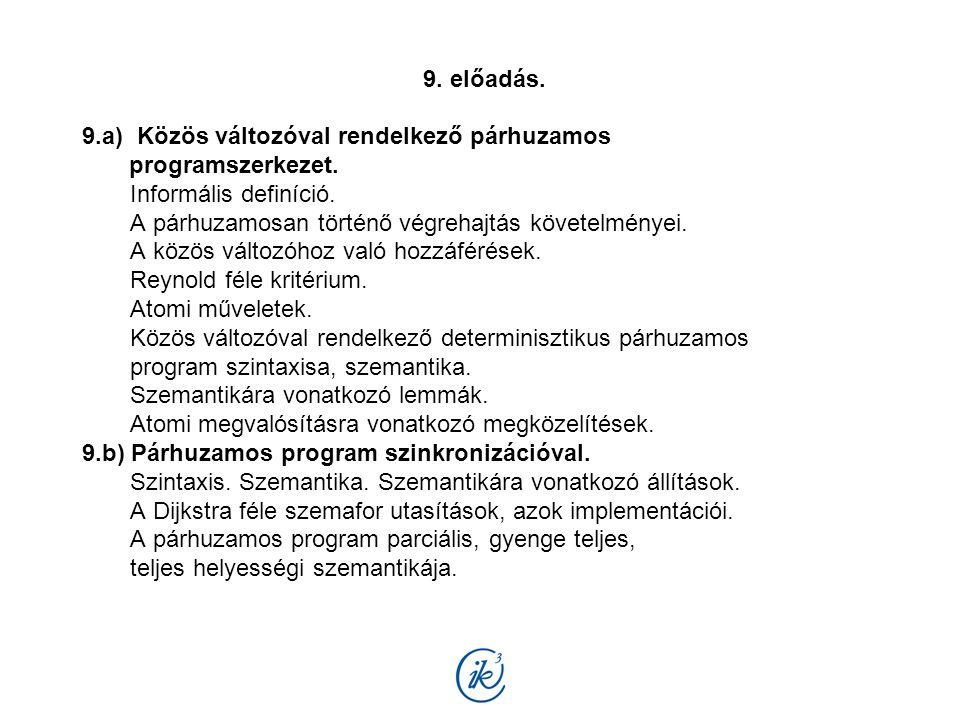9. előadás. 9.a) Közös változóval rendelkező párhuzamos programszerkezet. Informális definíció. A párhuzamosan történő végrehajtás követelményei. A kö