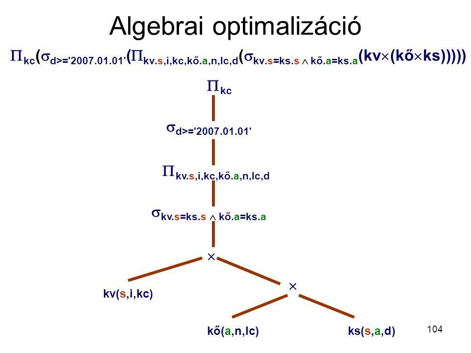 104 Algebrai optimalizáció  kc (  d>='2007.01.01' (  kv.s,i,kc,kő.a,n,lc,d (  kv.s=ks.s  kő.a=ks.a (kv  (kő  ks)))))  d>='2007.01.01'  kc  k