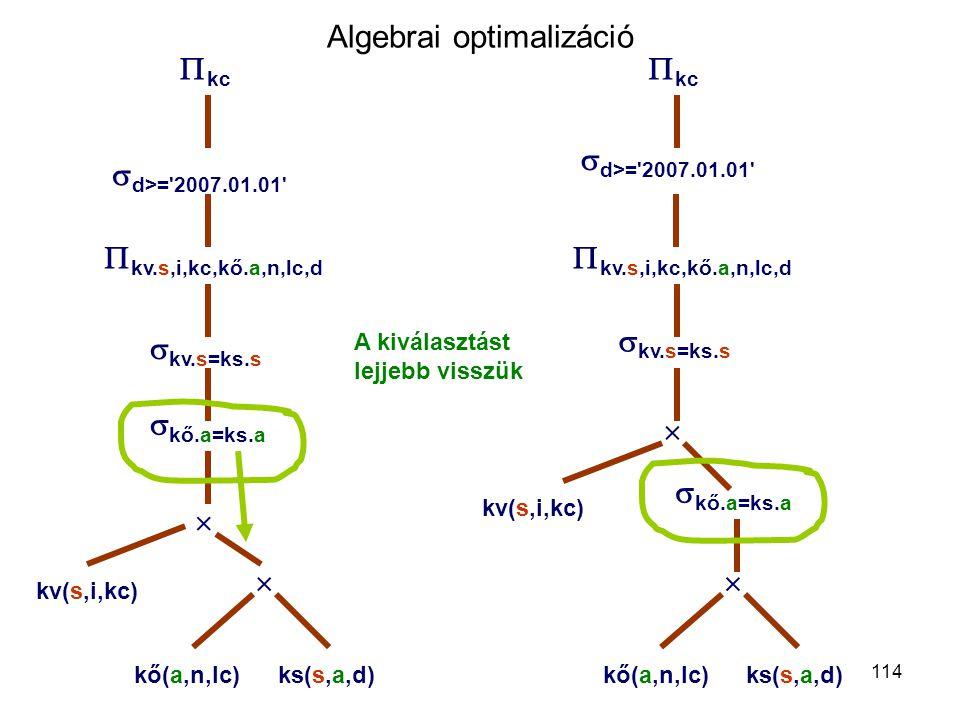 114 Algebrai optimalizáció  d>='2007.01.01'  kc  kv.s,i,kc,kő.a,n,lc,d  kv.s=ks.s    kő.a=ks.a kő(a,n,lc)ks(s,a,d) kv(s,i,kc)  d>='2007.01.01'
