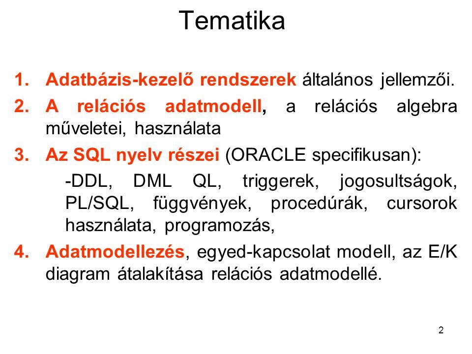 2 Tematika 1.Adatbázis-kezelő rendszerek általános jellemzői. 2.A relációs adatmodell, a relációs algebra műveletei, használata 3.Az SQL nyelv részei