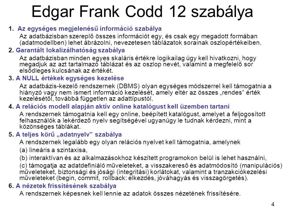4 Edgar Frank Codd 12 szabálya 1. Az egységes megjelenésű információ szabálya Az adatbázisban szereplő összes információt egy, és csak egy megadott fo