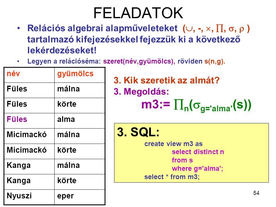 54 FELADATOK Relációs algebrai alapműveleteket( , -, , , ,  ) tartalmazó kifejezésekkel fejezzük ki a következő lekérdezéseket! Legyen a relációs