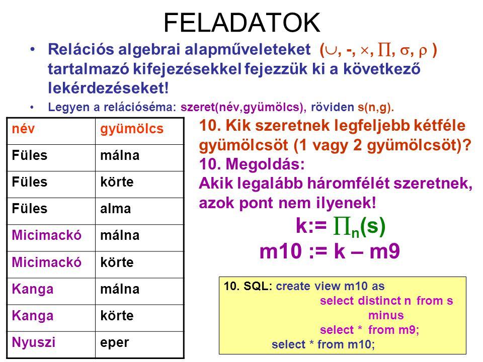 63 FELADATOK Relációs algebrai alapműveleteket( , -, , , ,  ) tartalmazó kifejezésekkel fejezzük ki a következő lekérdezéseket! Legyen a relációs