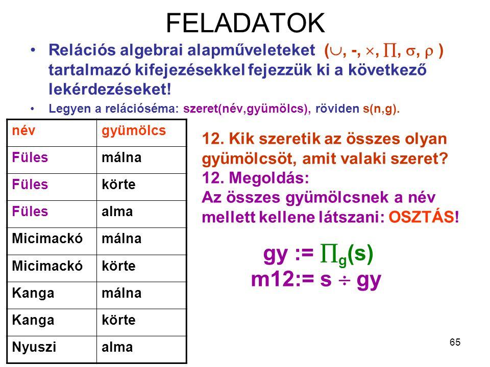 65 FELADATOK Relációs algebrai alapműveleteket( , -, , , ,  ) tartalmazó kifejezésekkel fejezzük ki a következő lekérdezéseket! Legyen a relációs