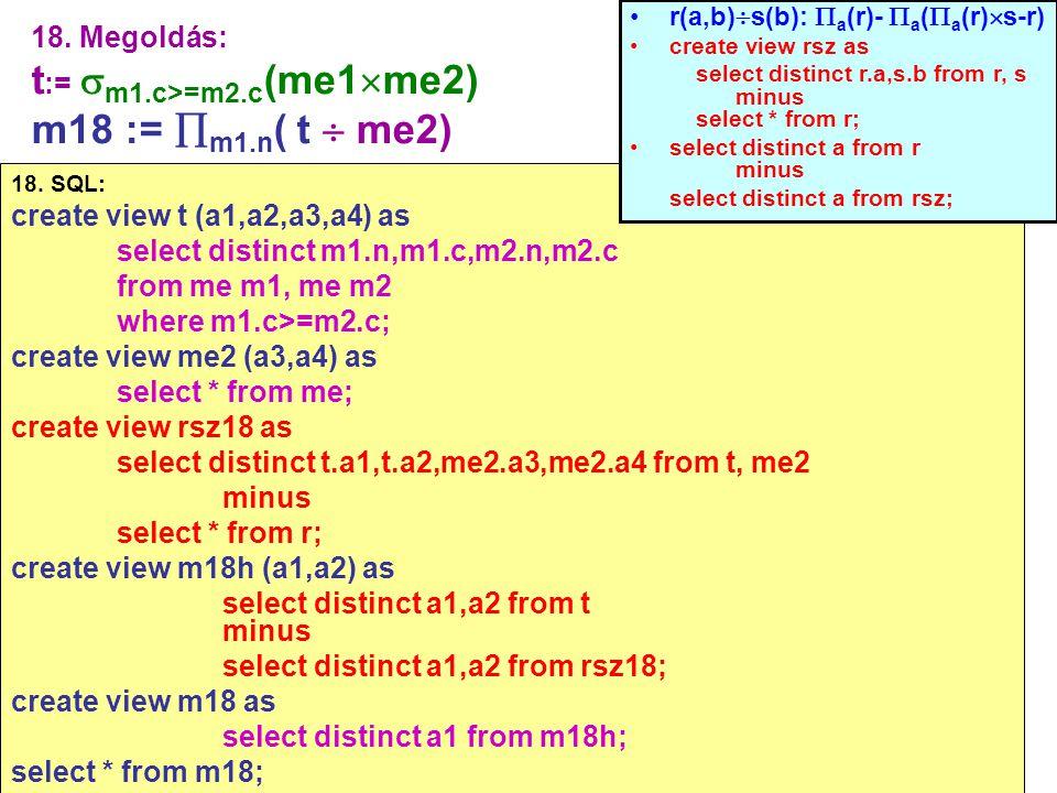 76 18. Megoldás: t :=  m1.c>=m2.c (me1  me2) m18 :=  m1.n ( t  me2) 18. SQL: create view t (a1,a2,a3,a4) as select distinct m1.n,m1.c,m2.n,m2.c fr