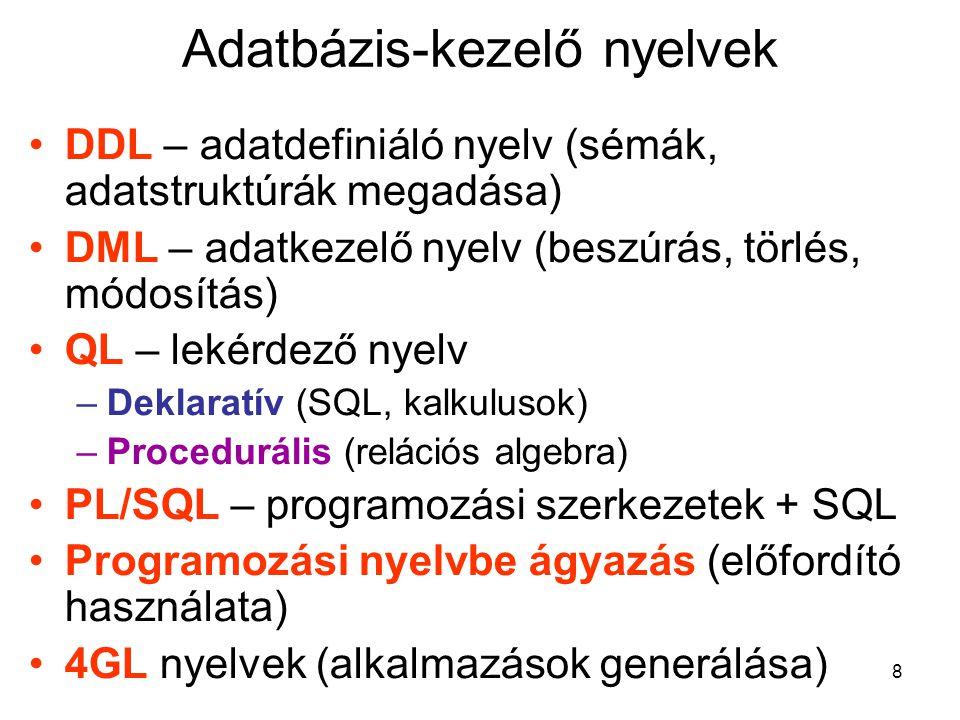 8 Adatbázis-kezelő nyelvek DDL – adatdefiniáló nyelv (sémák, adatstruktúrák megadása) DML – adatkezelő nyelv (beszúrás, törlés, módosítás) QL – lekérd