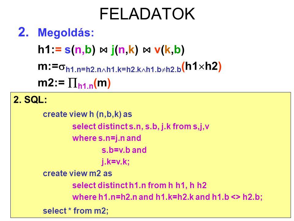 80 FELADATOK 2. Megoldás: h1:= s(n,b) ⋈ j(n,k) ⋈ v(k,b) m:=  h1.n=h2.n  h1.k=h2.k  h1.b  h2.b (h1  h2) m2:=  h1.n (m) 2. SQL: create view h (n,b