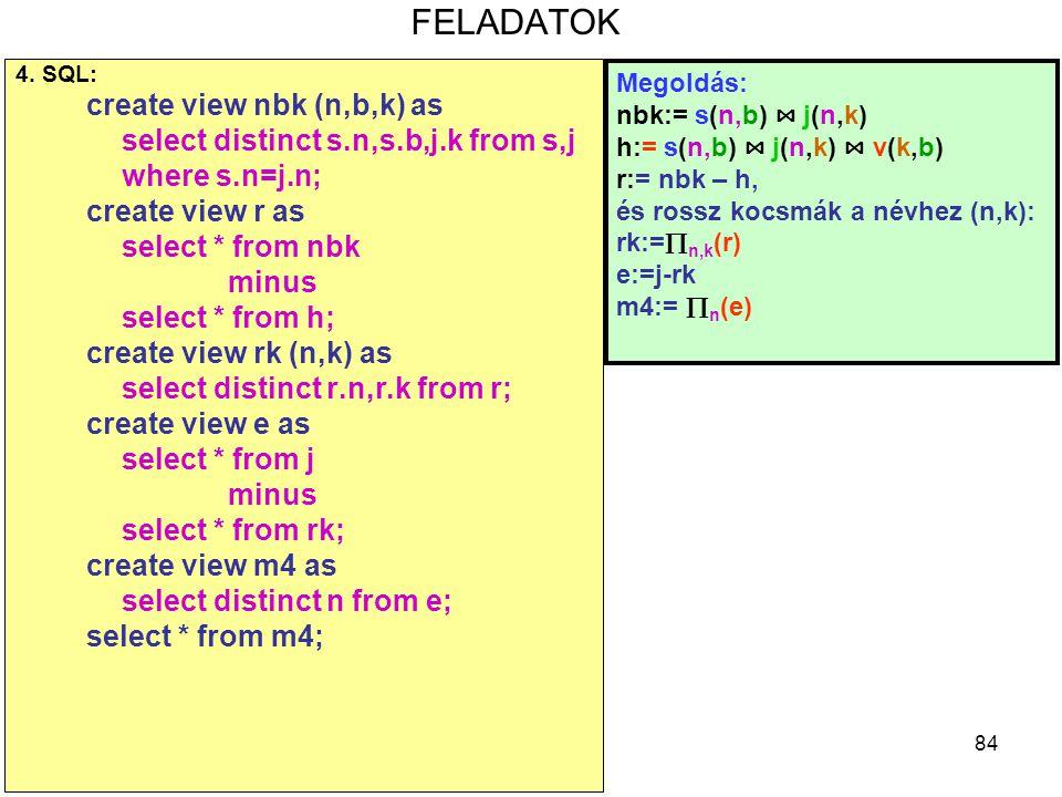 84 FELADATOK 4. SQL: create view nbk (n,b,k) as select distinct s.n,s.b,j.k from s,j where s.n=j.n; create view r as select * from nbk minus select *