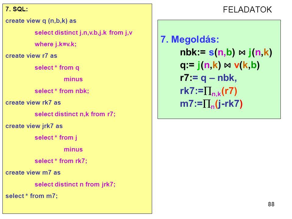 88 FELADATOK 7. Megoldás: nbk:= s(n,b) ⋈ j(n,k) q:= j(n,k) ⋈ v(k,b) r7:= q – nbk, rk7:=  n,k (r7) m7:=  n (j-rk7) 7. SQL: create view q (n,b,k) as s