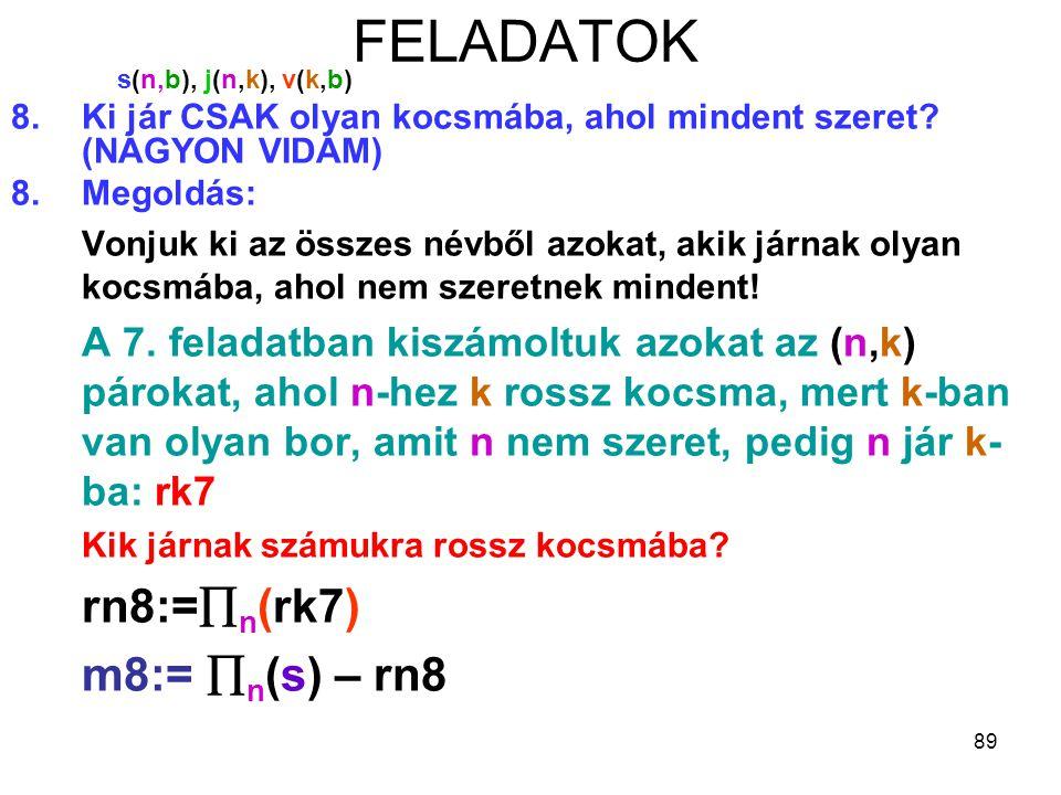 89 FELADATOK s(n,b), j(n,k), v(k,b) 8.Ki jár CSAK olyan kocsmába, ahol mindent szeret? (NAGYON VIDÁM) 8.Megoldás: Vonjuk ki az összes névből azokat, a