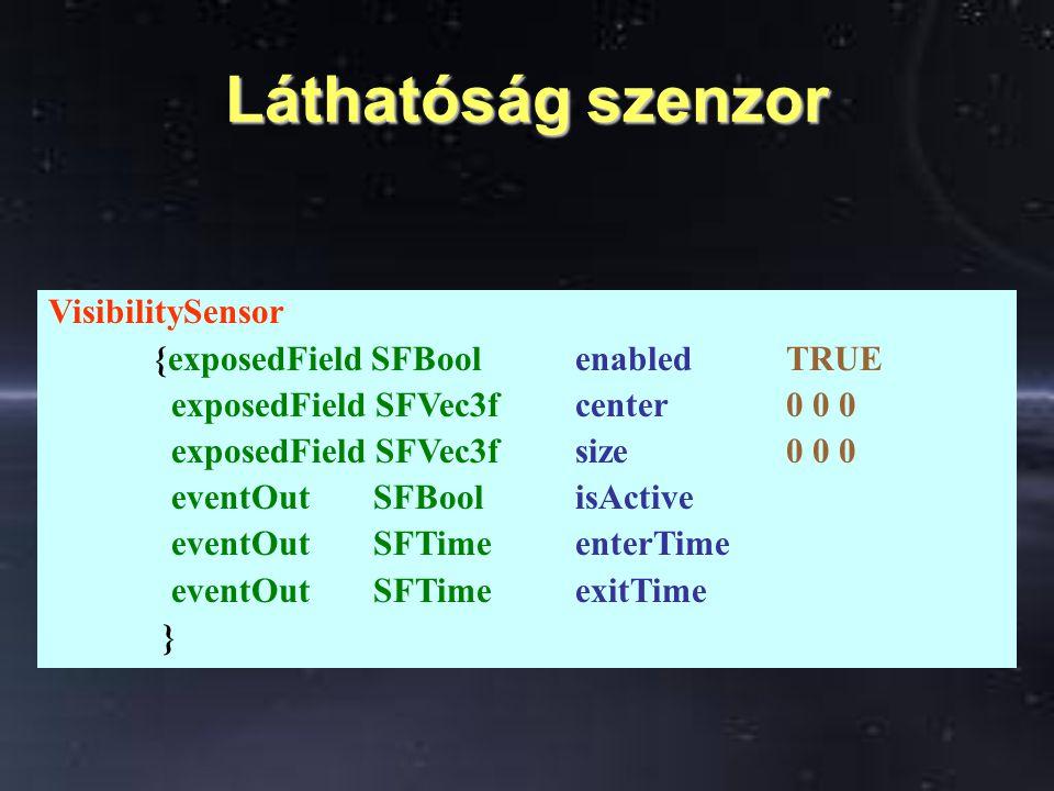 Láthatóság szenzor VisibilitySensor {exposedField SFBool enabledTRUE exposedField SFVec3f center0 0 0 exposedField SFVec3f size0 0 0 eventOut SFBoolis