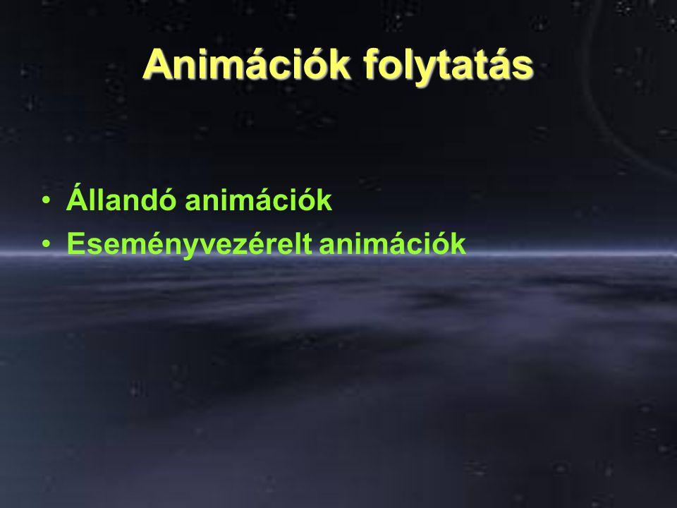 Animációk folytatás Állandó animációk Eseményvezérelt animációk