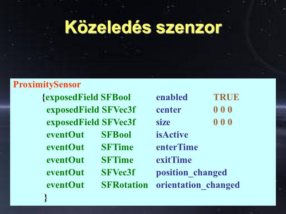 Láthatóság szenzor VisibilitySensor {exposedField SFBool enabledTRUE exposedField SFVec3f center0 0 0 exposedField SFVec3f size0 0 0 eventOut SFBoolisActive eventOut SFTimeenterTime eventOut SFTimeexitTime }
