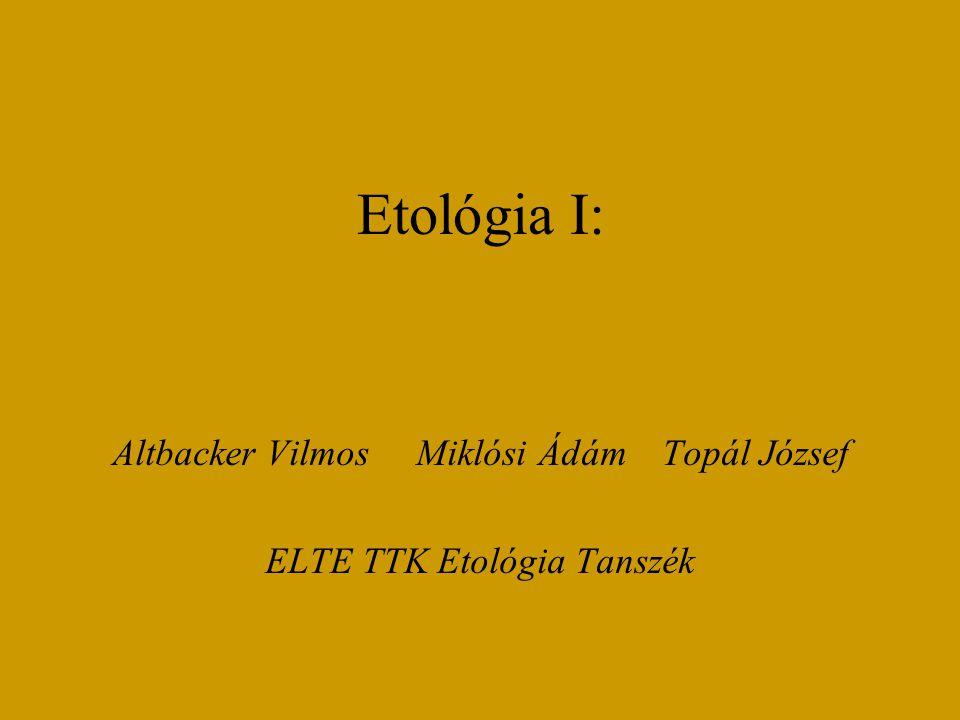 Etológia I: Altbacker Vilmos Miklósi Ádám Topál József ELTE TTK Etológia Tanszék