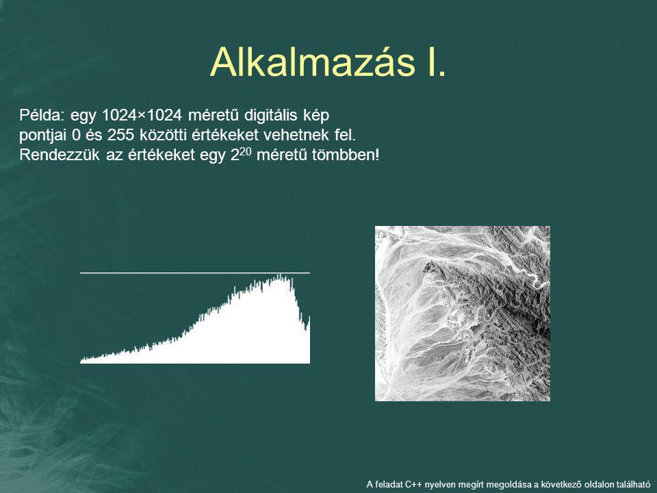 Alkalmazás I. Példa: egy 1024×1024 méretű digitális kép pontjai 0 és 255 közötti értékeket vehetnek fel. Rendezzük az értékeket egy 2 20 méretű tömbbe