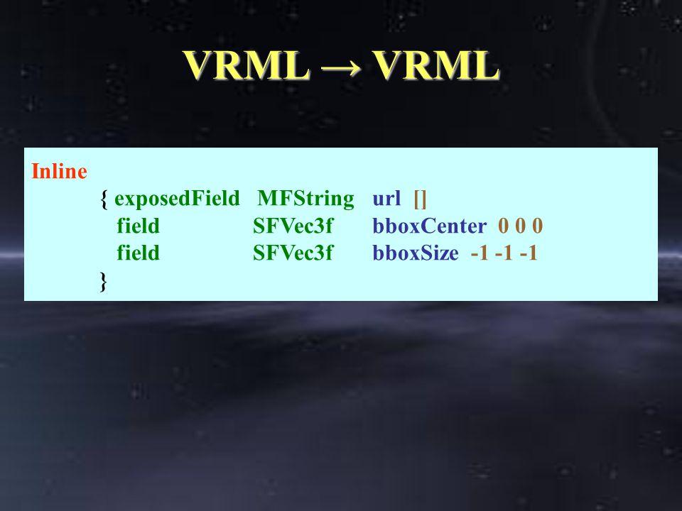 VRML → VRML Inline { exposedField MFStringurl [] field SFVec3fbboxCenter 0 0 0 field SFVec3fbboxSize -1 -1 -1 }