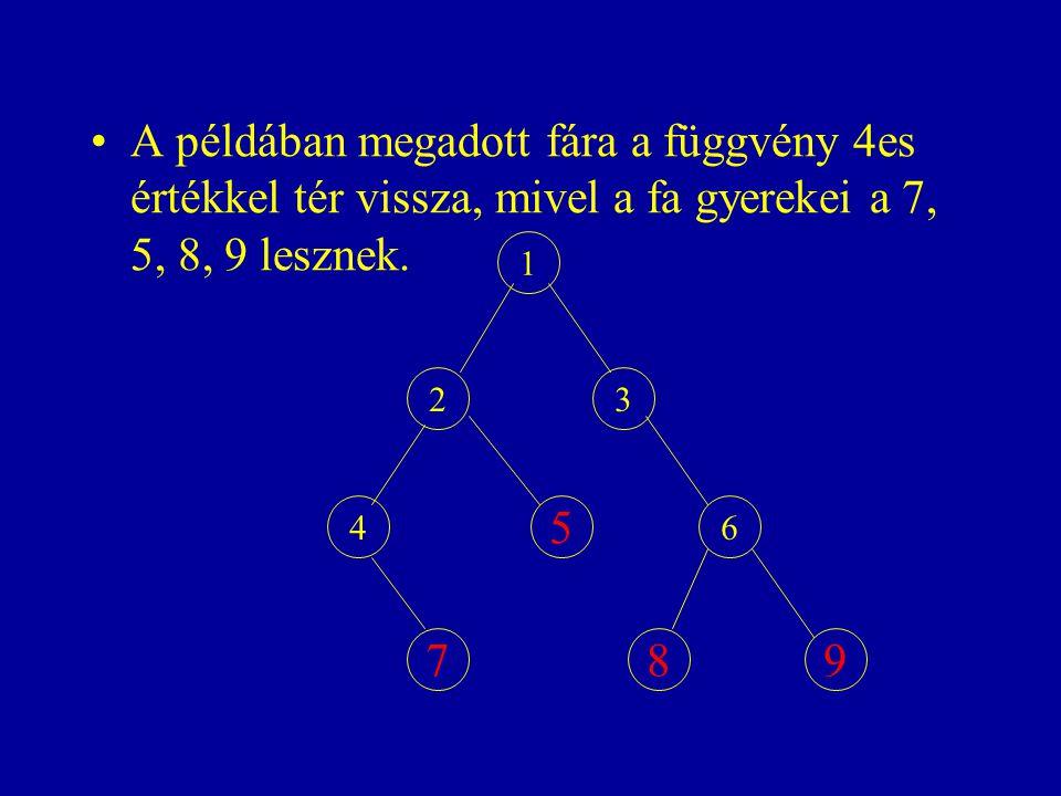 A példában megadott fára a függvény 4es értékkel tér vissza, mivel a fa gyerekei a 7, 5, 8, 9 lesznek. 1 23 4 5 6 798