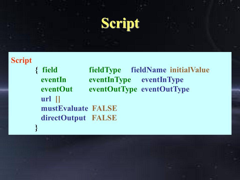 Script Script { field fieldTypefieldName initialValue eventIn eventInType eventInType eventOut eventOutType eventOutType url [] mustEvaluate FALSE directOutput FALSE }