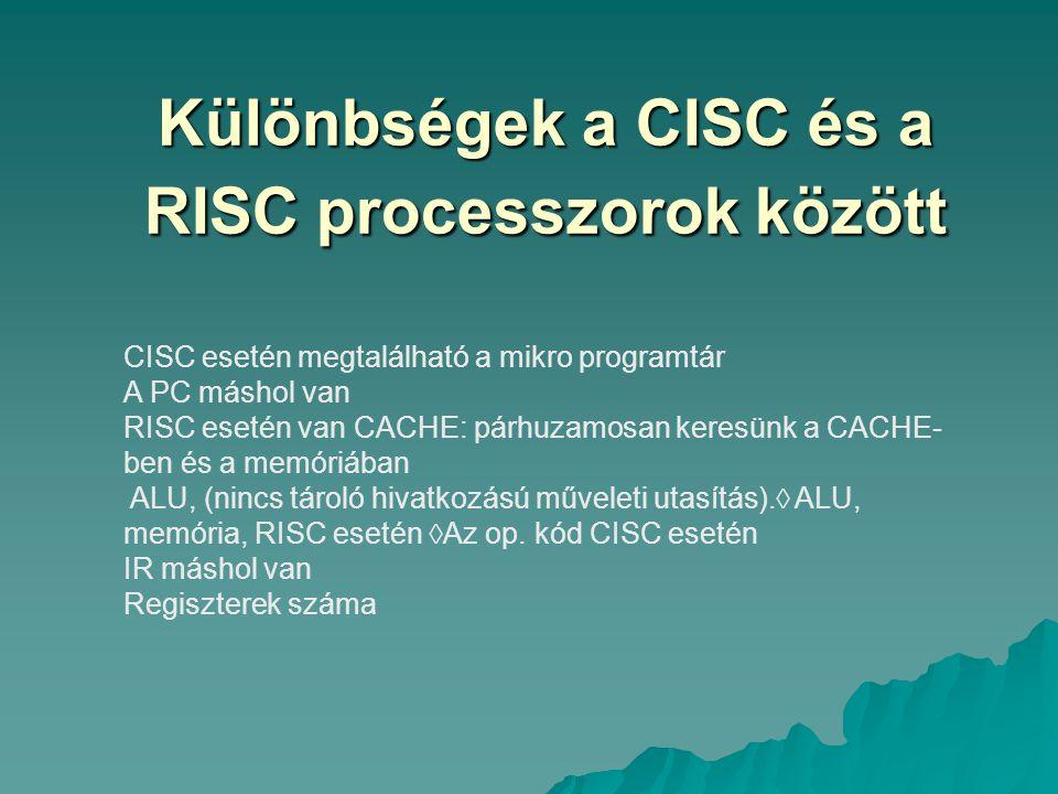 Különbségek a CISC és a RISC processzorok között CISC esetén megtalálható a mikro programtár A PC máshol van RISC esetén van CACHE: párhuzamosan keres