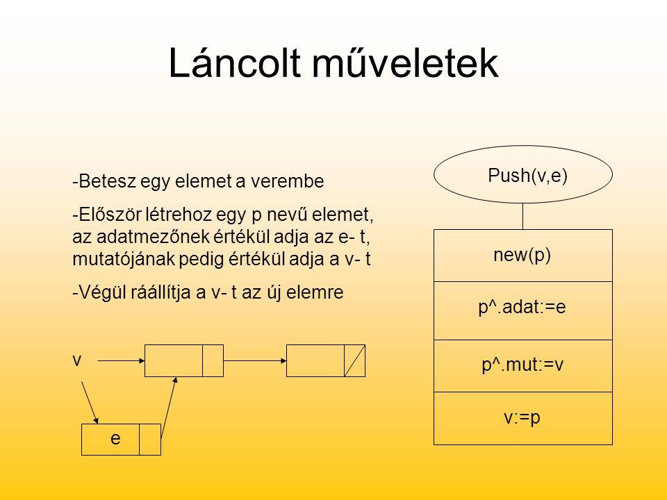 Láncolt műveletek Push(v,e) new(p) p^.adat:=e p^.mut:=v v:=p -Betesz egy elemet a verembe -Először létrehoz egy p nevű elemet, az adatmezőnek értékül