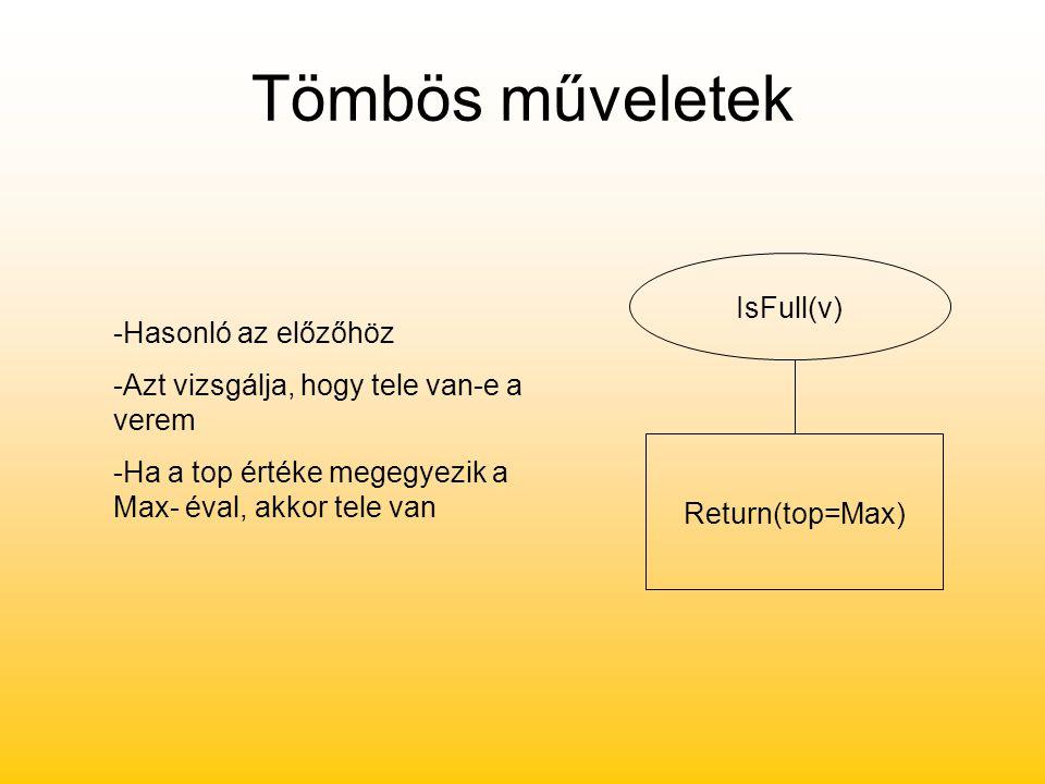 Tömbös műveletek IsFull(v) Return(top=Max) -Hasonló az előzőhöz -Azt vizsgálja, hogy tele van-e a verem -Ha a top értéke megegyezik a Max- éval, akkor