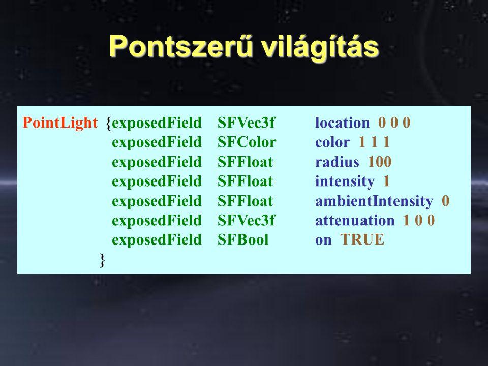 Pontszerű világítás 2. ahol d a fényforrástól mért távolság, attenuation(n) a mező n. koordinátája