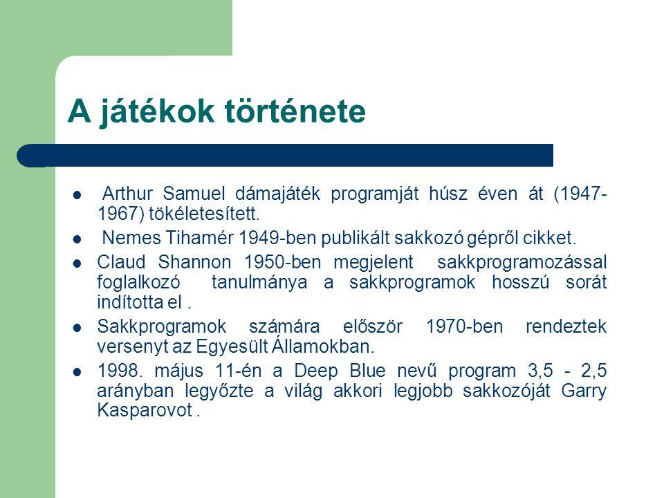 Arthur Samuel dámajáték programját húsz éven át (1947- 1967) tökéletesített. Nemes Tihamér 1949-ben publikált sakkozó gépről cikket. Claud Shannon 195