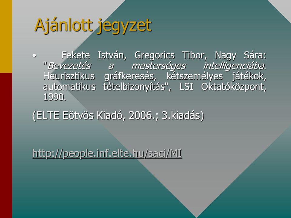 Ajánlott jegyzet Fekete István, Gregorics Tibor, Nagy Sára: Bevezetés a mesterséges intelligenciába.