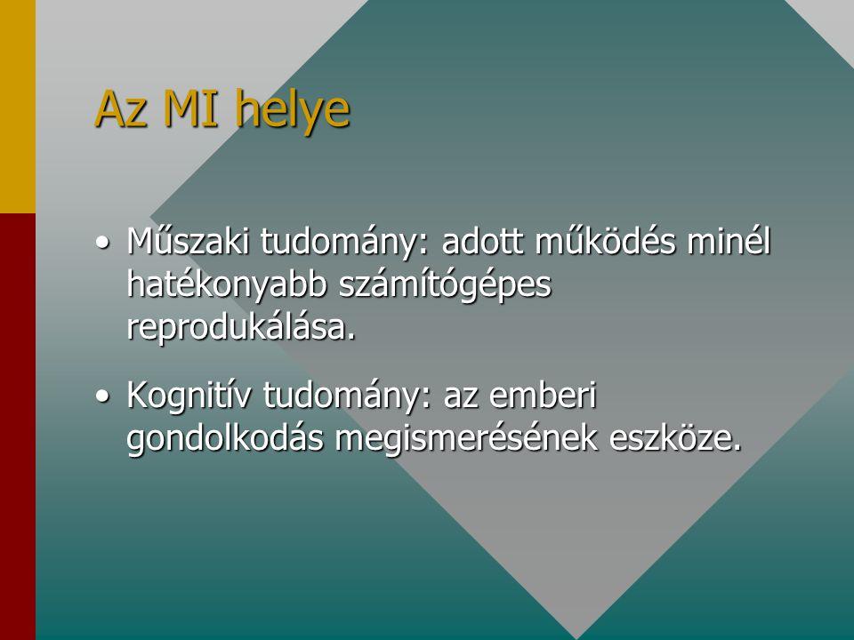 Az MI rendszerek jellemzői Emberi gondolkodásra jellemző következtetéseket használnak.Emberi gondolkodásra jellemző következtetéseket használnak.