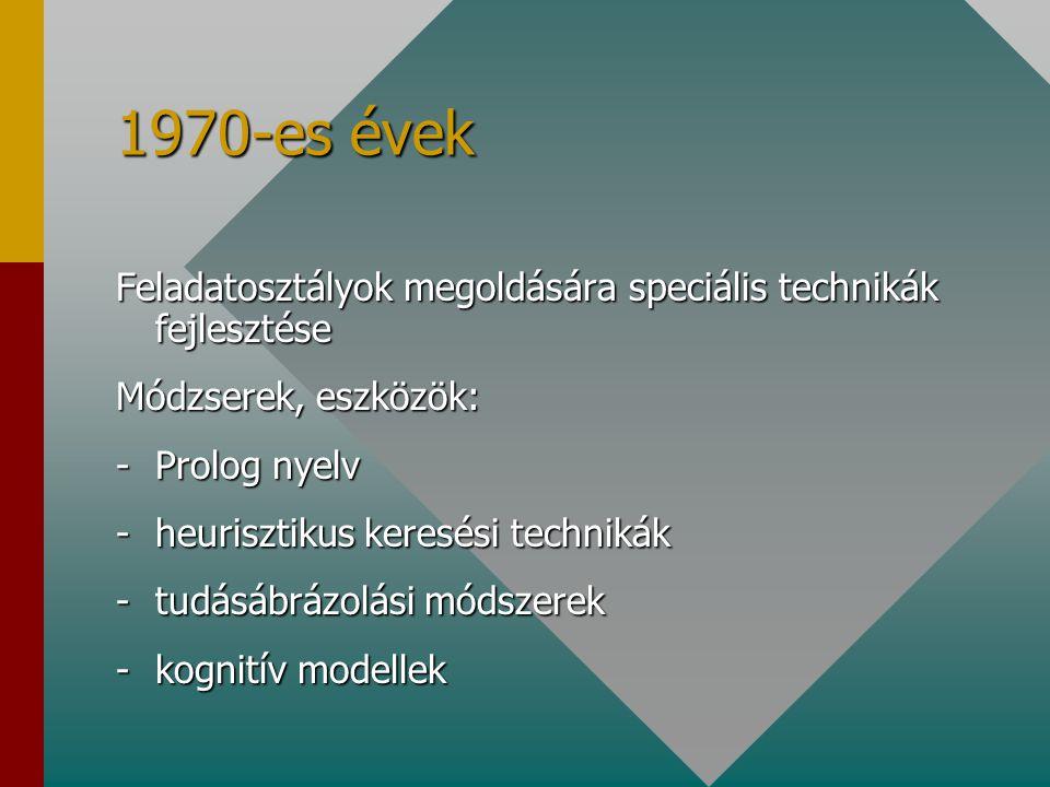1970-es évek Feladatosztályok megoldására speciális technikák fejlesztése Módzserek, eszközök: -Prolog nyelv -heurisztikus keresési technikák -tudásábrázolási módszerek -kognitív modellek