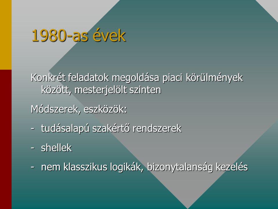 1980-as évek Konkrét feladatok megoldása piaci körülmények között, mesterjelölt szinten Módszerek, eszközök: -tudásalapú szakértő rendszerek -shellek -nem klasszikus logikák, bizonytalanság kezelés