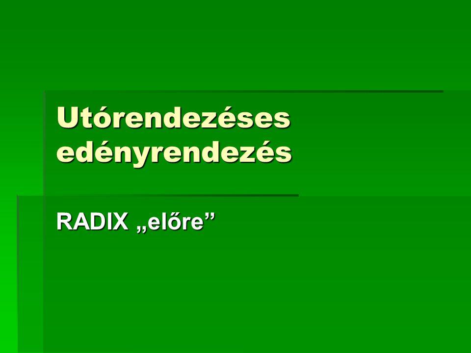 """Utórendezéses edényrendezés RADIX """"előre"""""""