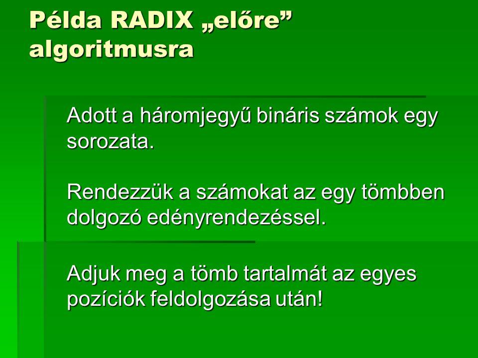 """Példa RADIX """"előre"""" algoritmusra Adott a háromjegyű bináris számok egy sorozata. Rendezzük a számokat az egy tömbben dolgozó edényrendezéssel. Adjuk m"""