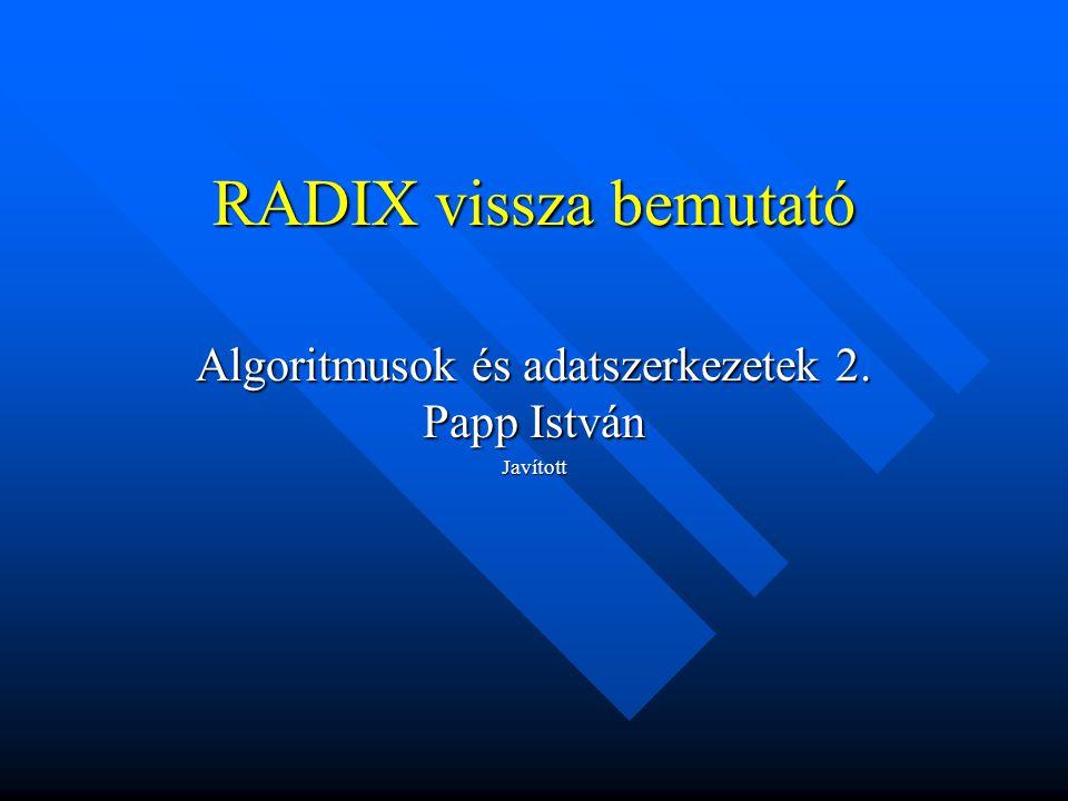 RADIX vissza bemutató Algoritmusok és adatszerkezetek 2. Papp István Javított