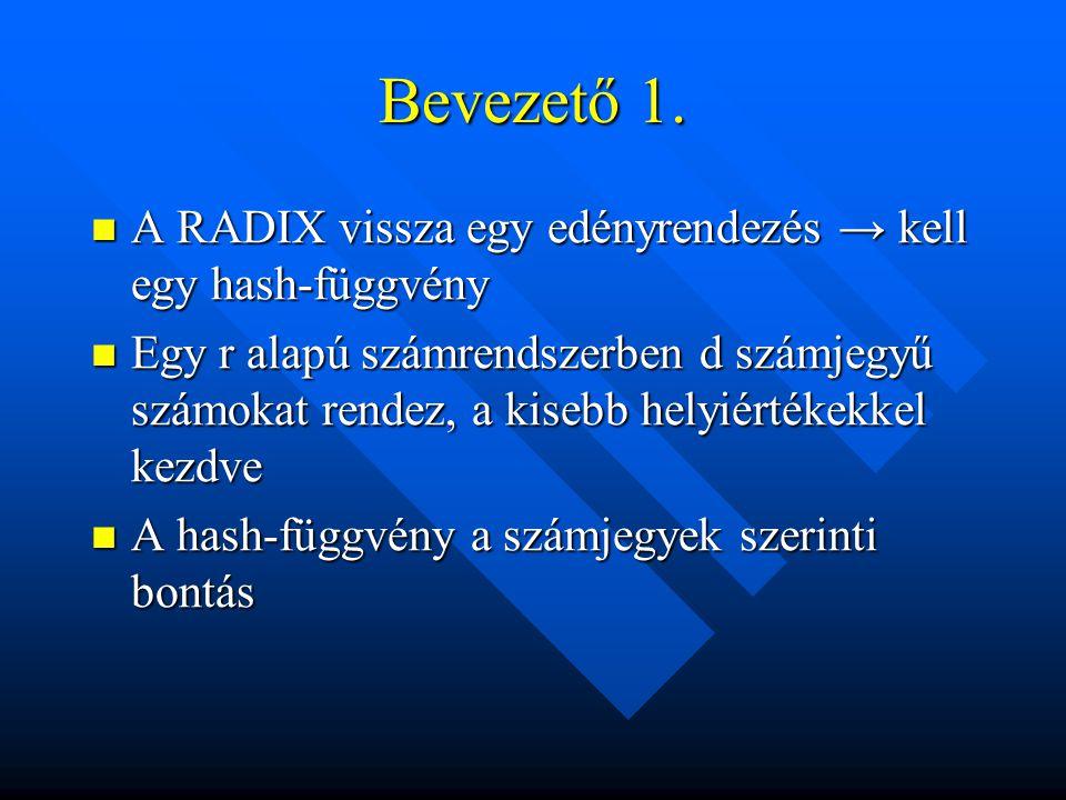 Bevezető 1. A RADIX vissza egy edényrendezés → kell egy hash-függvény A RADIX vissza egy edényrendezés → kell egy hash-függvény Egy r alapú számrendsz