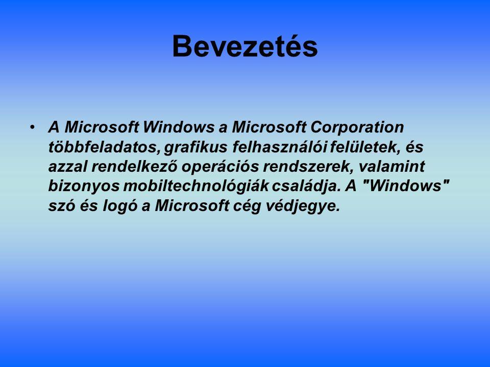 Bevezetés A Microsoft Windows a Microsoft Corporation többfeladatos, grafikus felhasználói felületek, és azzal rendelkező operációs rendszerek, valamint bizonyos mobiltechnológiák családja.