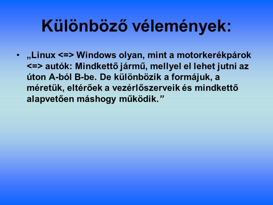"""Különböző vélemények: """"Linux Windows olyan, mint a motorkerékpárok autók: Mindkettő jármű, mellyel el lehet jutni az úton A-ból B-be. De különbözik a"""