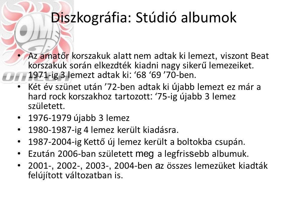 Diszkográfia: Idegen nyelv Albumjaik többségét (főleg a kezdeti időszakból) kiadták angol nyelven is, mivel sokat dolgoztak odakint.