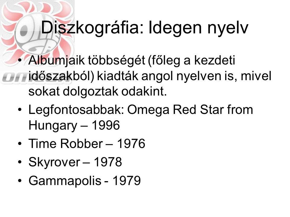 Diszkográfia: Koncert Gyűjteményes kiadásban megjelent az összes koncertfelvételük, ez összesen 6 CD-t tesz ki, két külön csoportba szedve Omega Klub 1968, Kisstadion 1977, Kisstadion 1979 Kisstadion 1980, Budapest Sportcsarnok 1982, Népstadion 1994