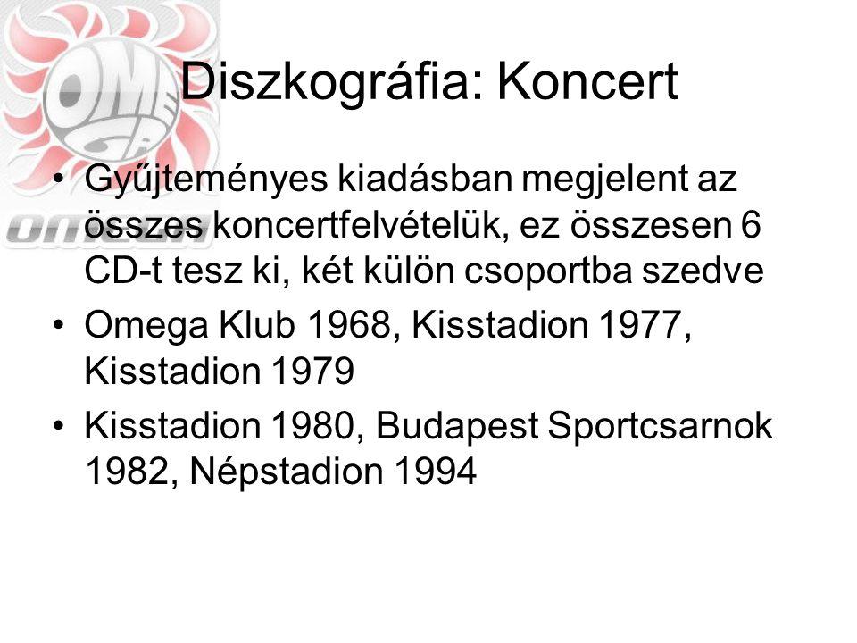 Diszkográfia: Koncert Gyűjteményes kiadásban megjelent az összes koncertfelvételük, ez összesen 6 CD-t tesz ki, két külön csoportba szedve Omega Klub
