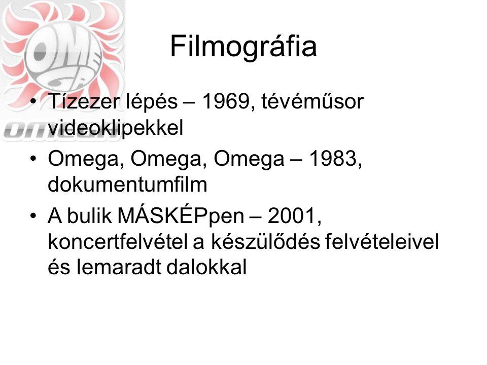 Filmográfia Tízezer lépés – 1969, tévéműsor videoklipekkel Omega, Omega, Omega – 1983, dokumentumfilm A bulik MÁSKÉPpen – 2001, koncertfelvétel a kész